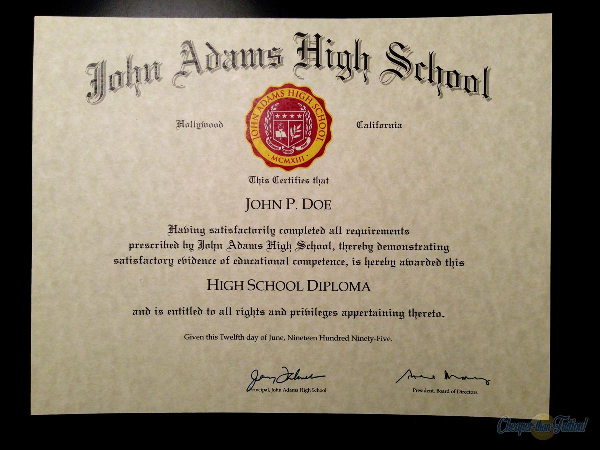 fake high school diploma with seal