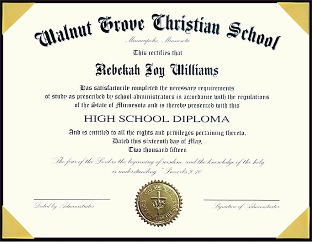 Agile image within printable high school diplomas
