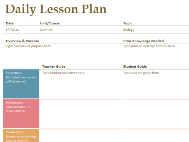 Lesson Plan Templates Free Download WORD EXCEL PDF - Monthly lesson plan template