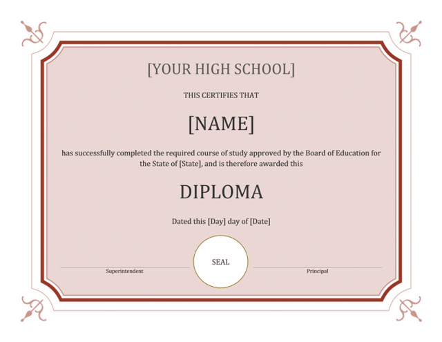 High School Diploma Template Word Free Download