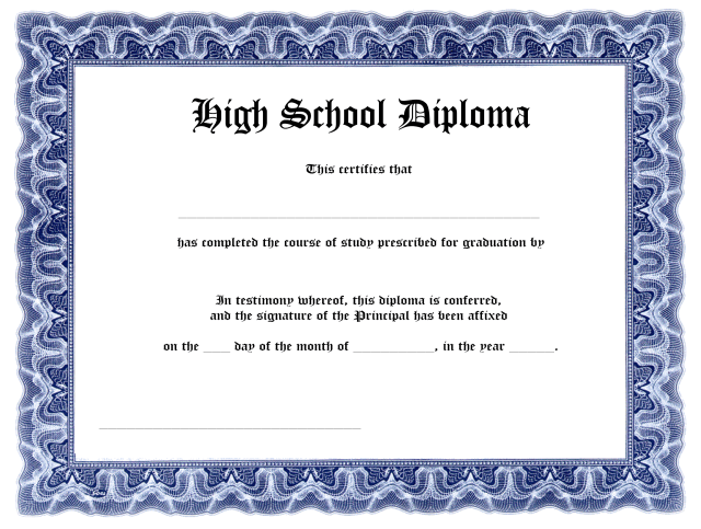 Blank High School Diploma Template