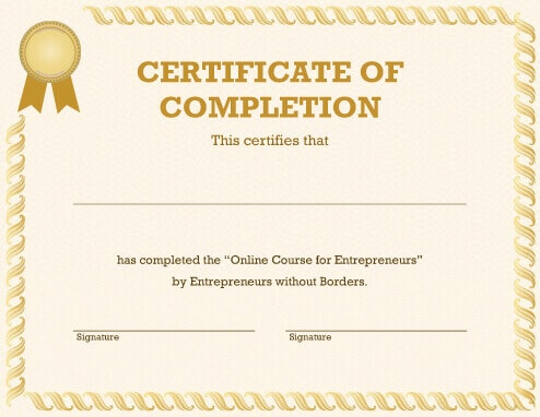 20 free certificate of completion template word excel pdf yadclub Images
