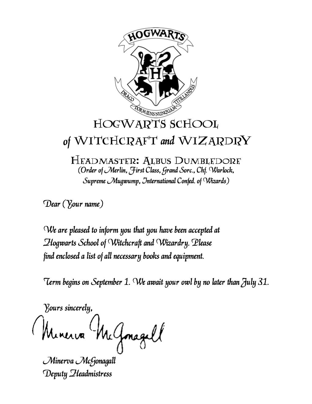 Elegant Hogwarts Acceptance Letter ...