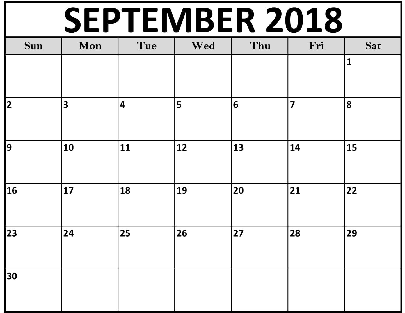 September Calendar Printables : September calendar free download