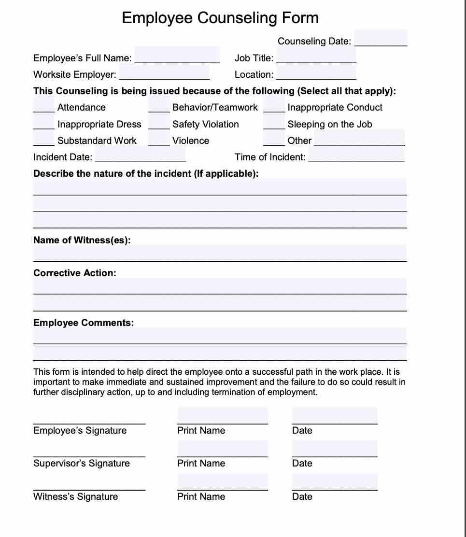 20+ Employee Write Up Form Free Download [PDF + Word]