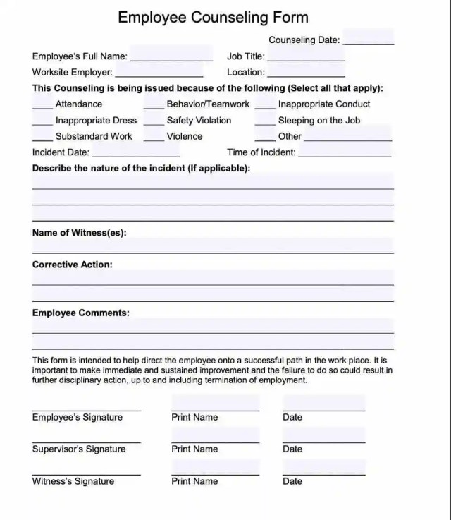 Employee Counseling Form