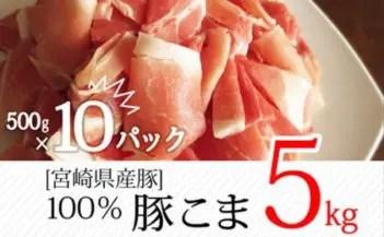 宮崎県産豚 こま肉 合計5kg