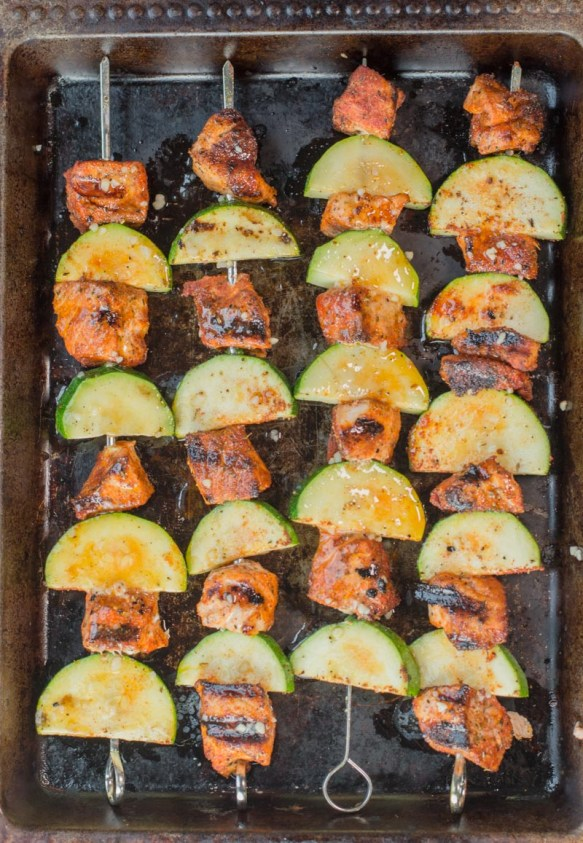 These Blackened Salmon and Zucchini Skewers are keto, low carb and gluten free! These summer kabobs are perfect on their own or on top of a big salad! #keto