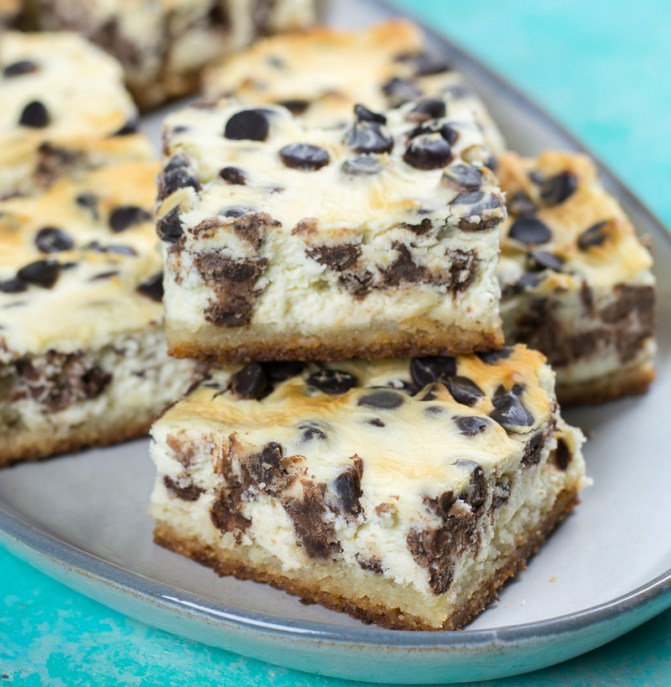 These Keto Chocolate Chip Cheesecake Bars are creamy, dreamy and low carb! At just 2.4 net carb per bar, these sweet treats won't break your keto diet.