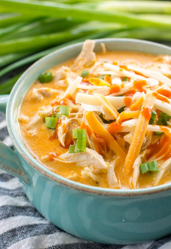 This low carb Instant Pot Buffalo Chicken Soup is loaded with tender shredded chicken, spicy buffalo sauce and tons of cheese! Under 5 net carbs per serving and perfect for keto meal prep! #keto