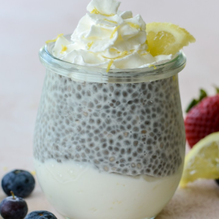 These Keto Lemon Cheesecake Parfaits feature a creamy lemon cheesecake layer topped with vanilla chia seed pudding! An easy no bake keto treat!