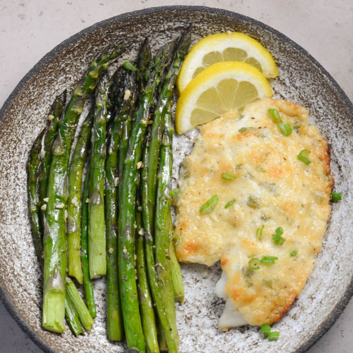 Keto Parmesan Tilapia and Asparagus for One