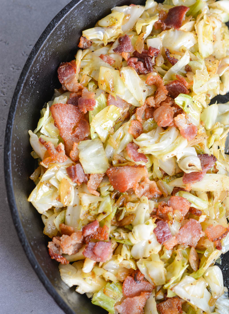 This Fried Cabbage with Bacon is the perfect keto, low carb side dish! At just 3.9 net carbs per serving this one pan side dish will be your new favorite!