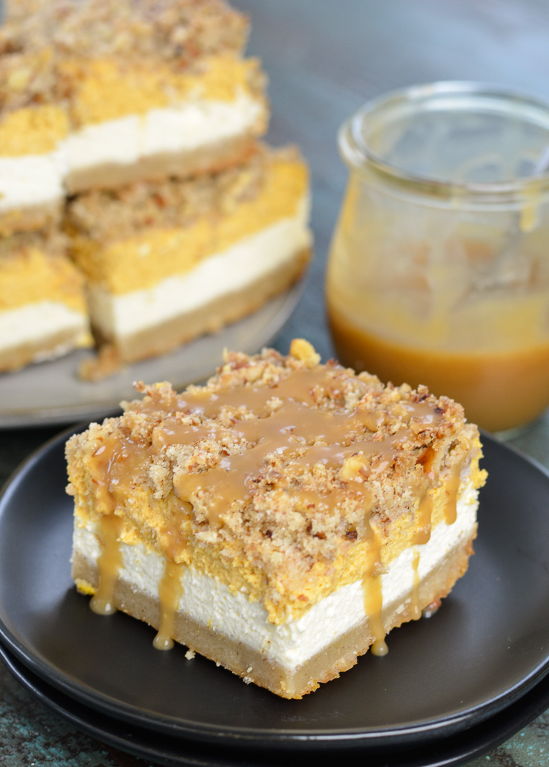 These Keto Pumpkin Cheesecake Bars are a low carb delight! At just 3.3 net carbs per serving this is the perfect Fall dessert recipe!