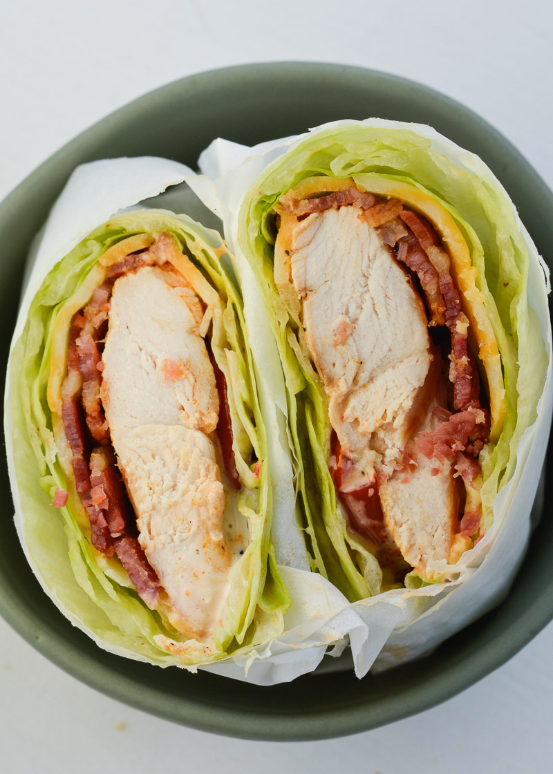 This five ingredient Chicken Bacon Ranch Lettuce Wrap is the perfect quick and easy keto dinner! Enjoy this filling wrap for about 2 net carbs!