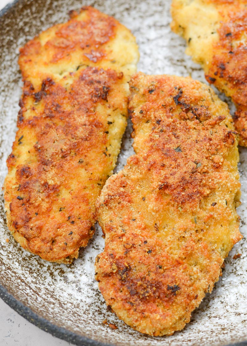 """This low carb, gluten free Keto Oven Fried Chicken is exactly what your family ordered! Tender chicken that's """"fried"""" in the oven, this meal is lightened-up comfort food at it's finest!"""