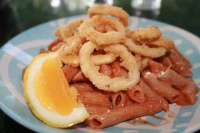 Salt and Pepper Squid Rings w/ Marinara Wholewheat Pasta
