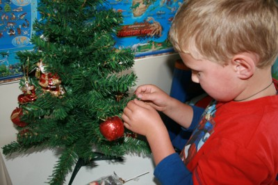 Ethan decorates HIS tree 2