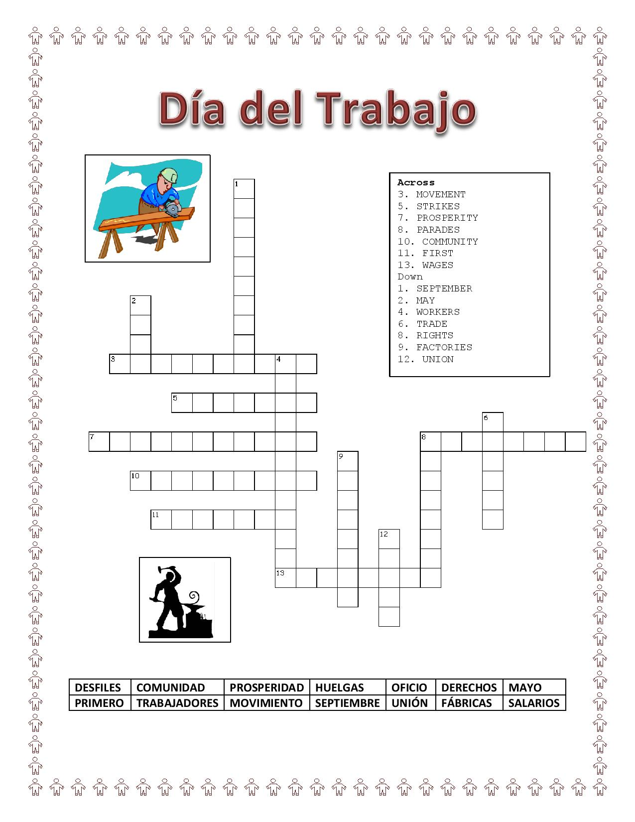 Labor Day Spanish Word Search Amp Criss Cross Puzzle Bonus