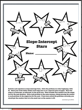 "FREE MATH LESSON – ""Slope Intercept Stars"""