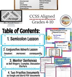 Semicolons and Conjunctive Adverbs Lesson [ 2048 x 926 Pixel ]