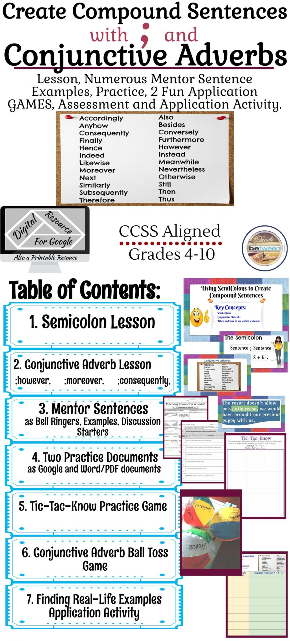 hight resolution of Semicolons and Conjunctive Adverbs Lesson