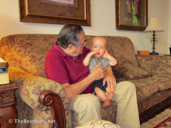 Holding great-grandson, Max! :-)