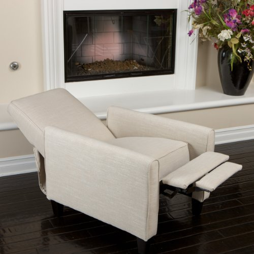 living room chairs for short people island themed best small recliners the recliner lucas light beige fabric club chair