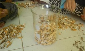 To make plastic from cigarette butts, the first step is to clean the cigarette butts from other compounds that are harmful to cigarettes. First cigarette butts are separated between tobacco parts and filter parts or corks, after which the cigarette filter is cleaned by removing the wrapping paper and taking the filter only.
