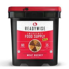 Ready Wise 60 Serving Freeze Dried Meat Bucket + 20 Servings Of Rice