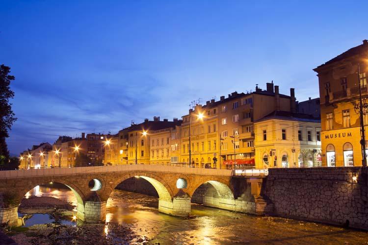 Miljacka river in Sarajevo, Capital of Bosnia & Herzegovina