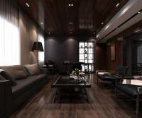 Light Wood Floors With Dark Furniture. Cozy Living Room ...