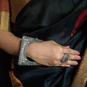 Round square diamond studded Silver Look Alike  kada