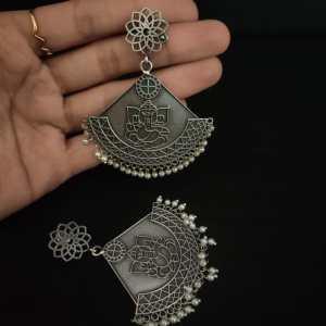 ganpatiji embossed half circle earring