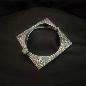 silver look alike square shaped regular wear kada