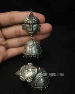 Lady Face Silver Look Alike Earring