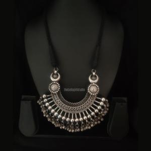 U shaped long Silver Look Alike Necklace