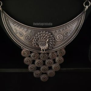 Peacock studded Long Silver Look Alike necklace