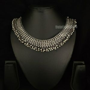 Ghunghroo Silver Look Alike Short necklace