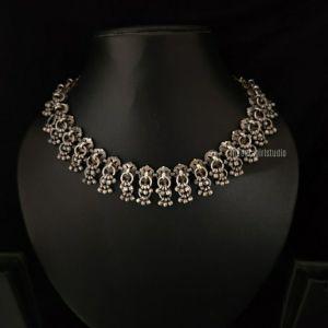 Sleek Ghungroo Silver Look Alike Necklace