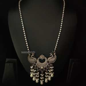 Peacock Inspired Long Silver Look Alike Necklace