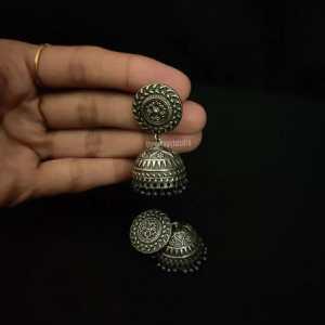 Antique Small Silver Look Alike Jhumka