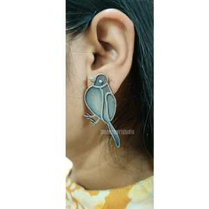 Bird Silver Look Alike Earring