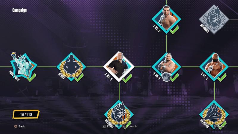 WWE 2K Battlegrounds Campaign Match Select