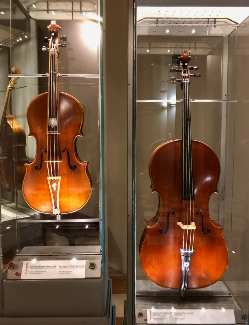 The Medici Quartet Stradivarius tenor viola and cello at the Galleria dell'Accademia.