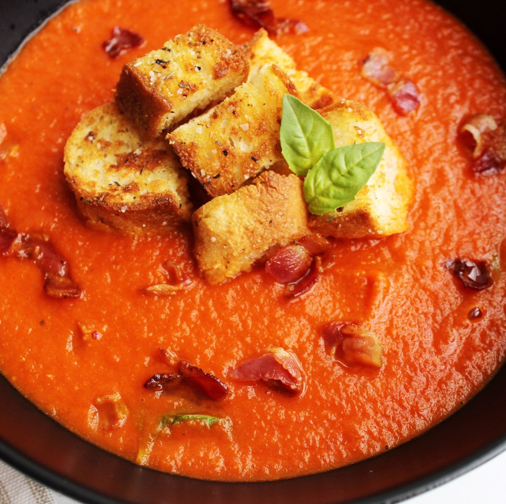 Tomato Basil Soup with Croutons, Pancetta and Basil