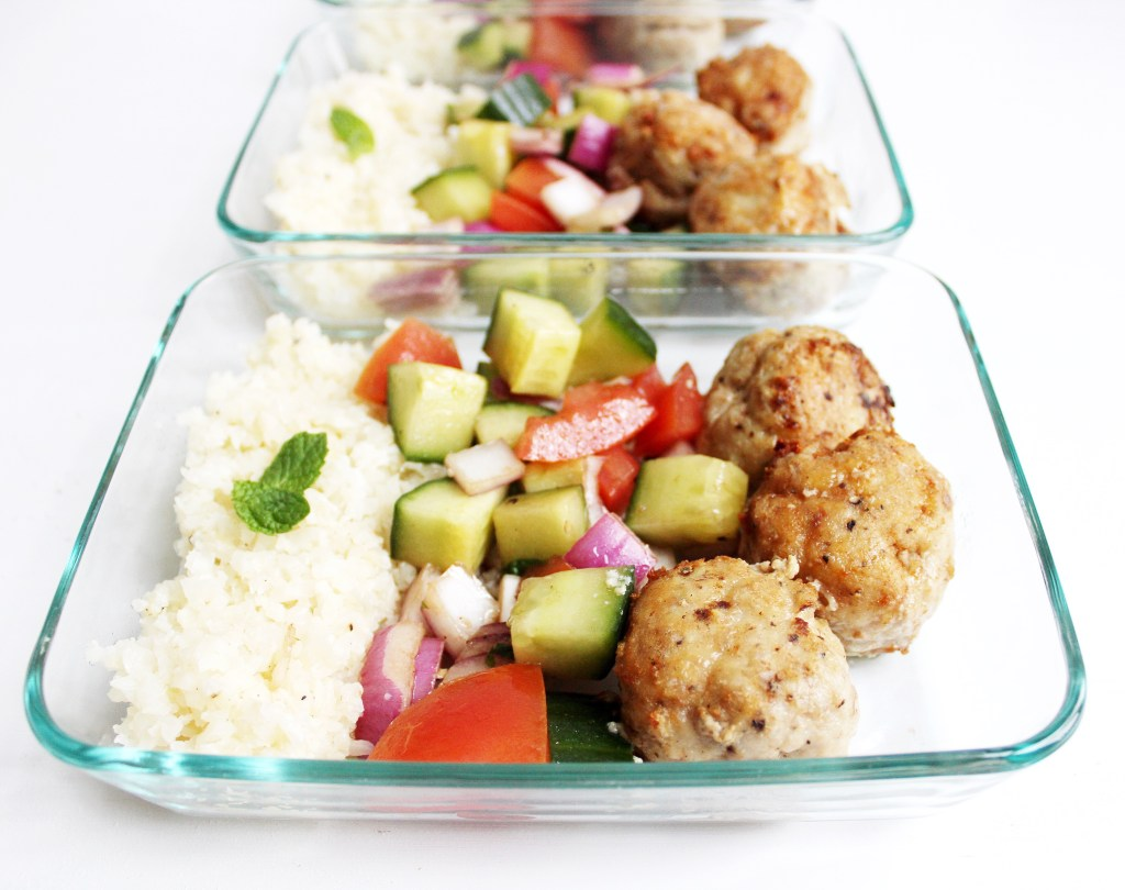 Greek Turkey Meatball Meal Prep Bowls