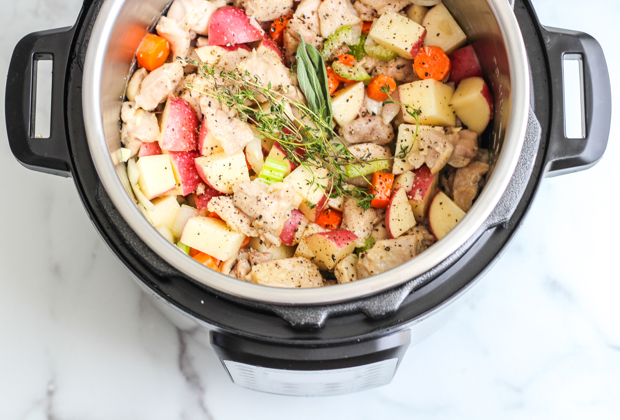components of chicken pot pie soup in the instant pot