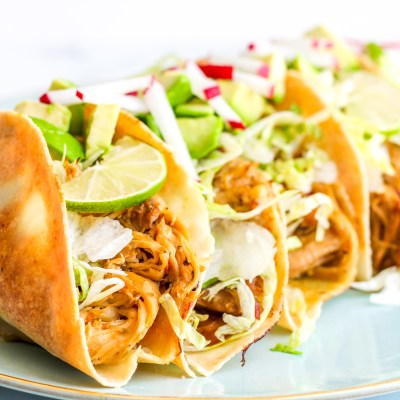 Baked Salsa Verde Chicken Tacos