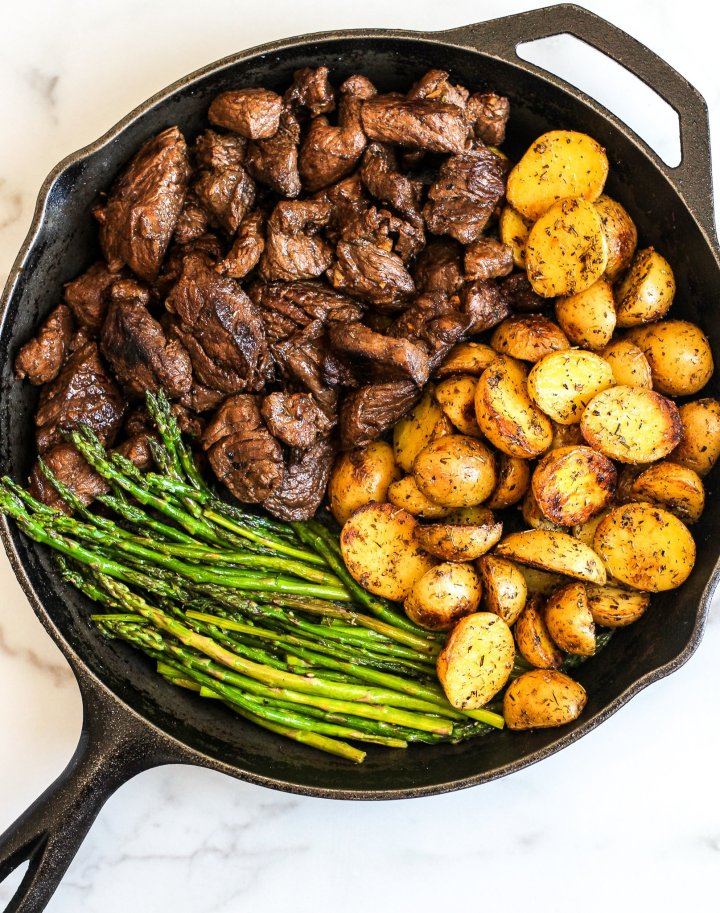 Balsamic Steak Tips with Herbed Potatoes & Asparagus